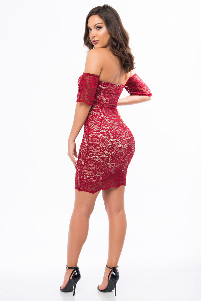 Jana Burgundy Lace Dress - Fashion Effect Store  - 3