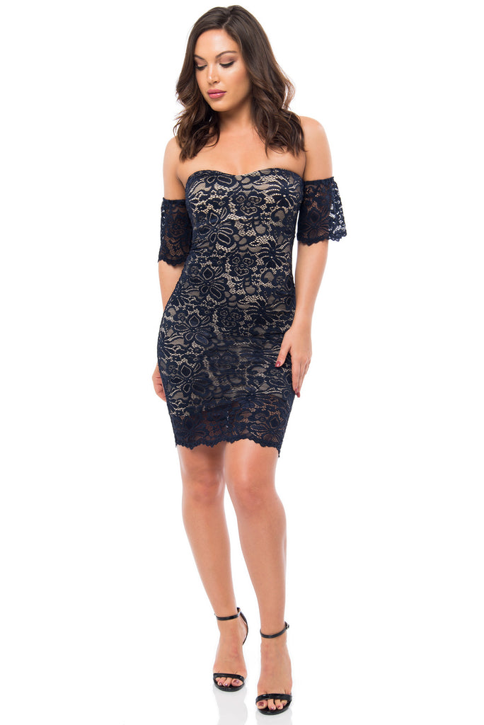 Jana Navy Lace Dress - Fashion Effect Store  - 1