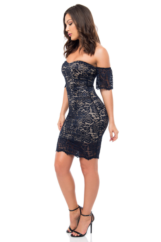 Jana Navy Lace Dress - Fashion Effect Store  - 3