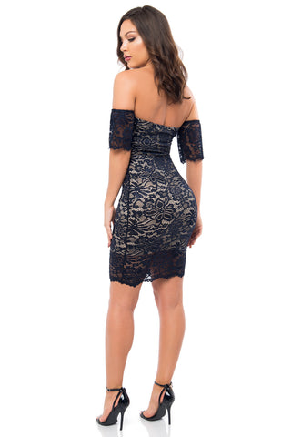 Jana Navy Lace Dress - Fashion Effect Store  - 2