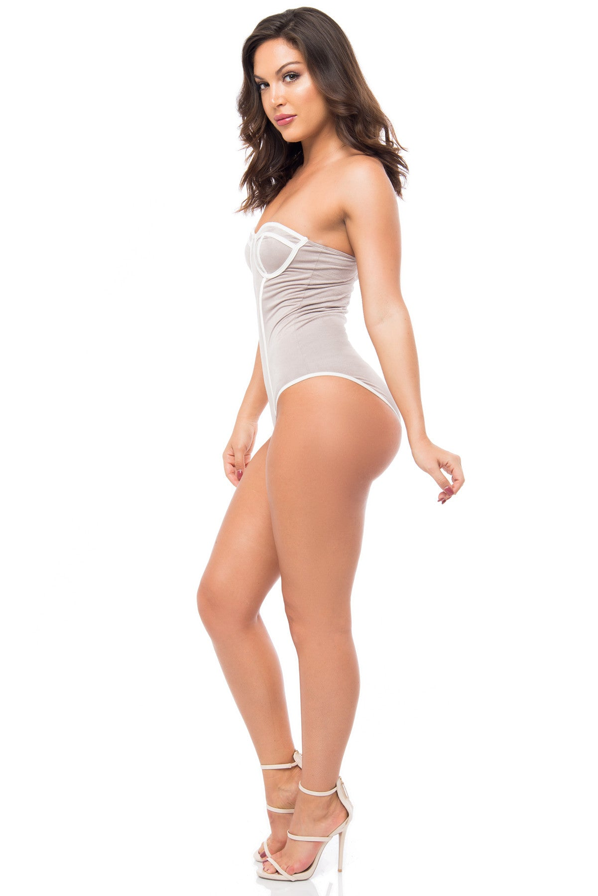 Danny Suede Gray Bodysuit - Fashion Effect Store  - 2