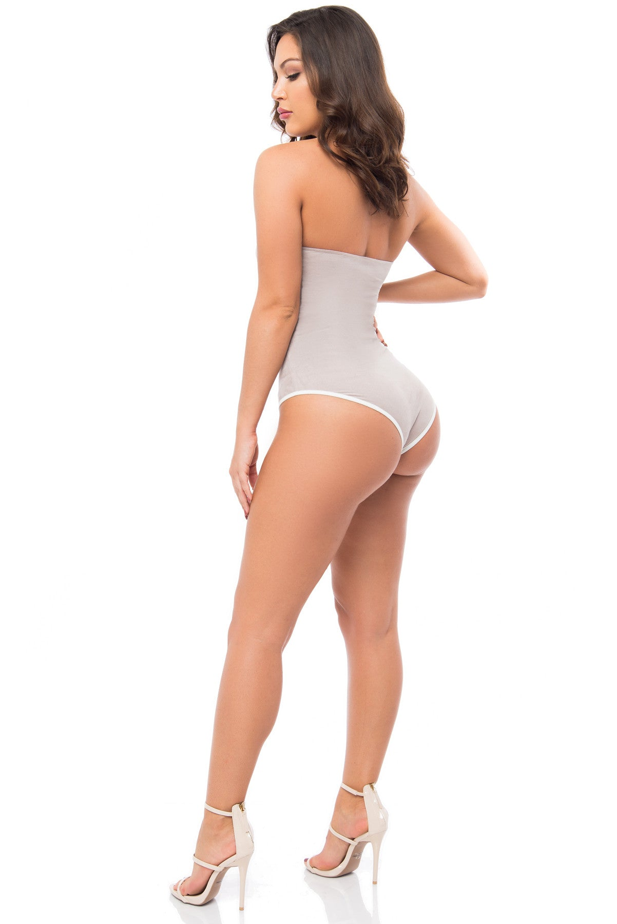 Danny Suede Gray Bodysuit - Fashion Effect Store  - 3