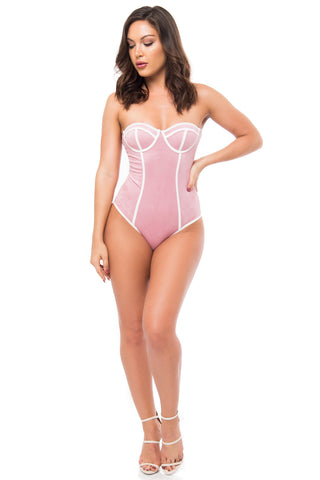 Danny Pink Suede Bodysuit - Fashion Effect Store  - 1