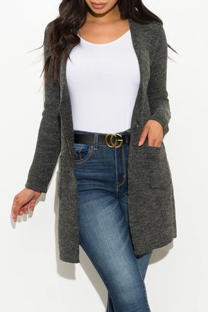 Warm Hearted Cardigan Charcoal Gray