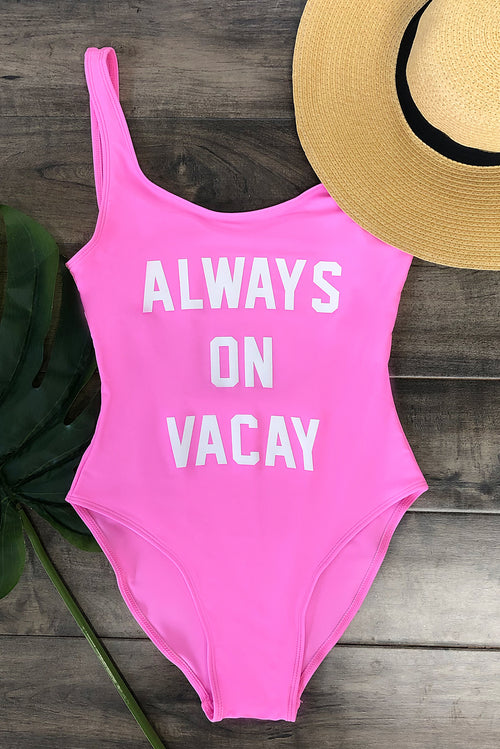 Always On Vacay One Piece Swimsuit- Pink