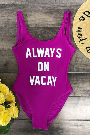 Always On Vacay  One Piece Swimsuit  Purple