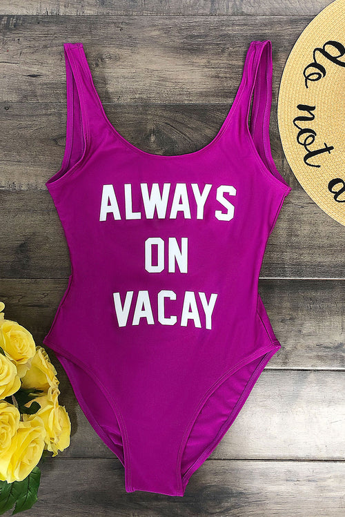 Always On Vacay  One Piece Swimsuit - Purple