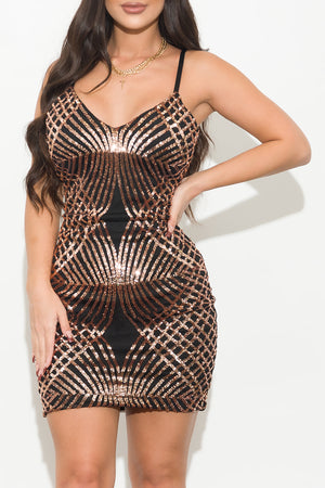 Harper Dress Black/Rose Gold