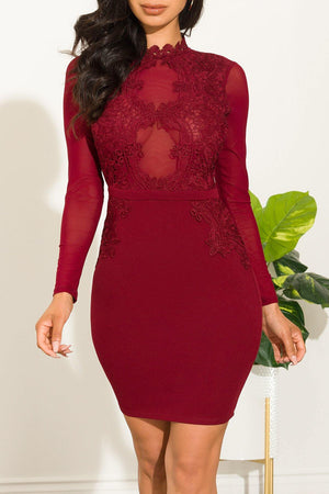 Here For You Dress Burgundy