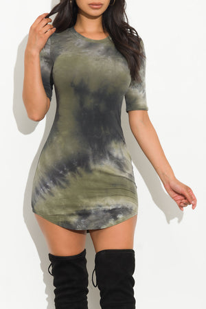 Feel Your Best Tie Dye Tunic Olive/Black