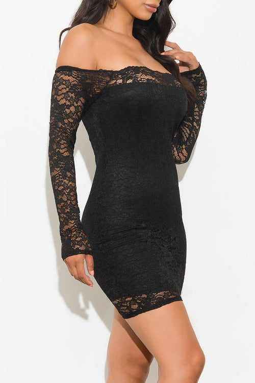 Belkis Off Shoulder Lace Dress Black
