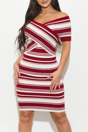 Delaney Striped Dress Red