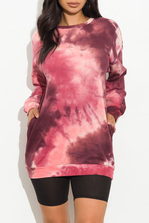 Alissa Sweater/Dress Tie Dye Burgundy/Pink