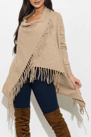 All Around Me Fringed  Wrap Cardigan
