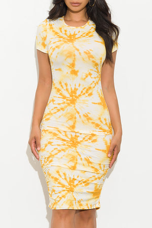 Shiloh Dress Tie Dye Yellow