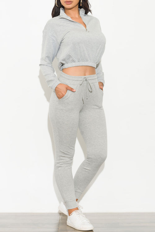 Have A Good Time Two Piece Set Gray