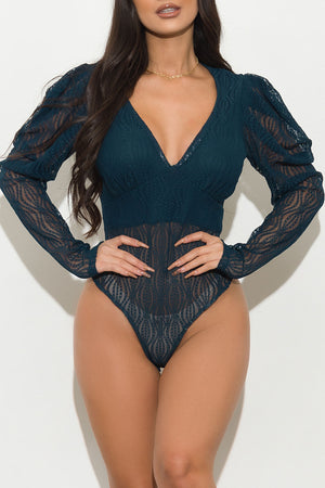 Almost There  Lace Bodysuit Teal