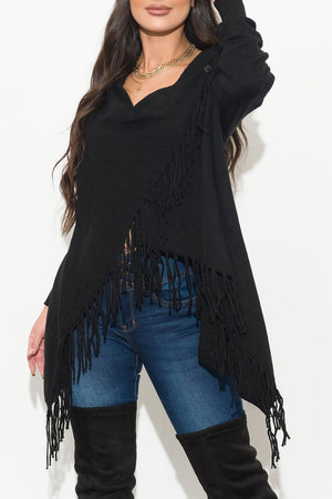 All Around Me Fringed  Wrap Cardigan Black