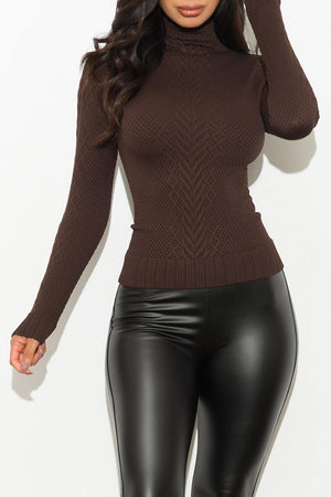Piper Turtle Neck Top Chocolate
