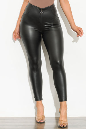 Front Row Faux Leather Leggings Black