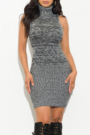 Simple Things Turtle Neck Dress Gray