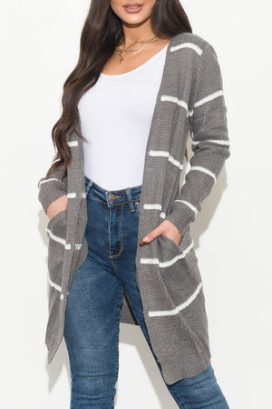 Rising Up Stripped Cardigan Gray