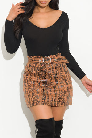 Walk With Me Faux Leather Mini Skirt Caramel