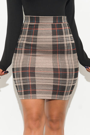 Camille Plaid Skirt Hunter Ivory/Black