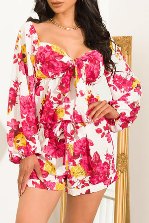 Tammy  Floral Set White/Pink
