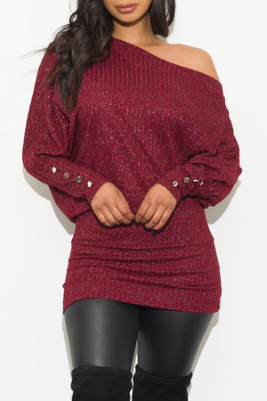 Be On Time Metallic Dress/Top Burgundy