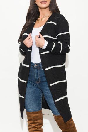 Rising Up Stripped Cardigan Black