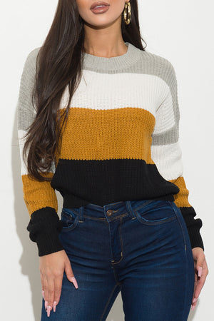 I Got What You Need Sweater Gray/White/Mustard/Black
