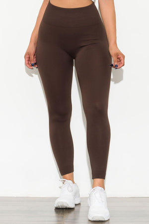 New Limits High Waisted Fleece Lined  Leggings Chocolate
