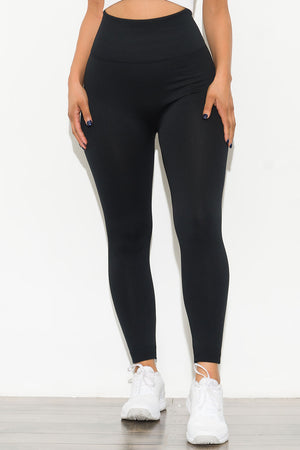 New Limits High Waisted Fleece Lined  Leggings Black