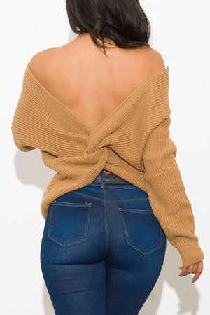 Simple Things Faux Wrap Sweater Camel