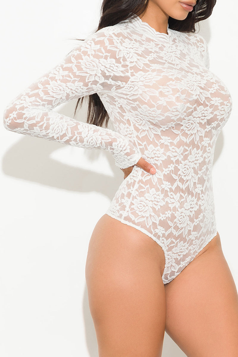 Rules Of Love Lace Bodysuit White