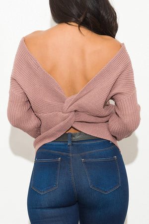 Simple Things Faux Wrap Sweater Mauve