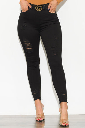 Luna Black Distressed Jeans - Fashion Effect Store