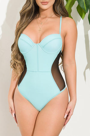 Capri One Piece Swimsuit Turquoise - Fashion Effect Store