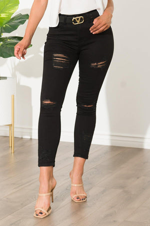 Linette Black Distressed Jeans - Fashion Effect Store
