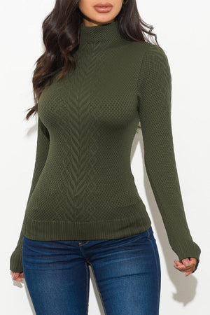 Piper Turtle Neck Top Olive