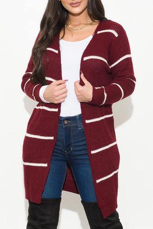 Rising Up Stripped Cardigan Burgundy