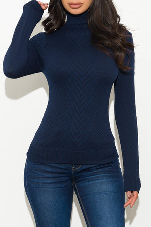 Piper Turtle Neck Top Navy