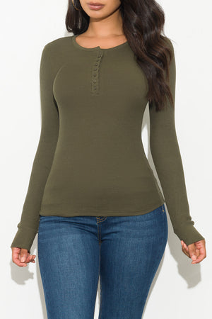 Fall Basic Thermal Top Long Sleeve Olive