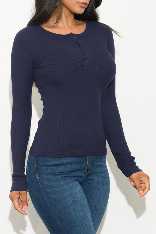 Fall Basic Thermal Top Long Sleeve Navy
