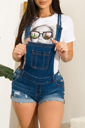 Fanny Denim Overall Shorts - Fashion Effect Store