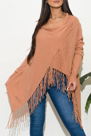 All Around Me Fringed  Wrap Cardigan Peach
