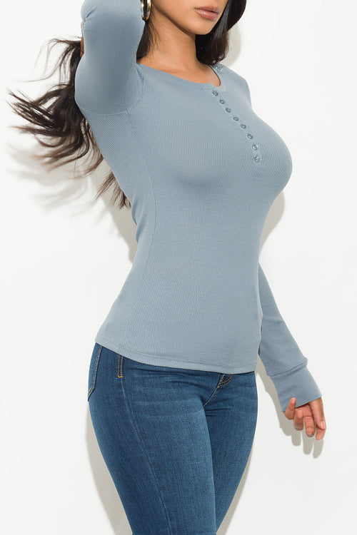 Fall Basic Thermal Top Long Sleeve Blue