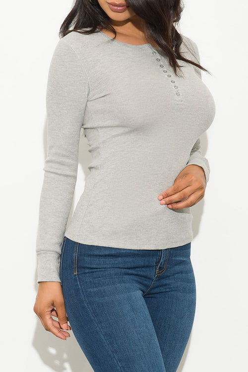 Fall Basic Thermal Top Long Sleeve Gray
