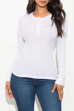 Fall Basic Thermal Top Long Sleeve White